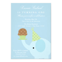 5x7 Blue Elephant Birthday Invitation