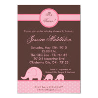 5x7 Girl Twins Mod Elephant Baby Shower Invitation