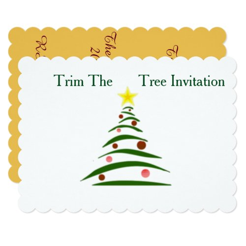 5x7 Scalloped Holiday invitation with envelope