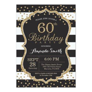 60th Birthday Invitation. Black and Gold Glitter Invitation