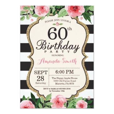 60th Birthday Invitation Women. Floral Gold Black