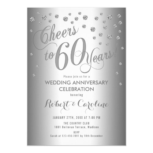60th Wedding Anniversary Invitation - Silver White
