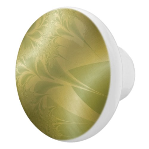 70s Green and Gold Ceramic Knob