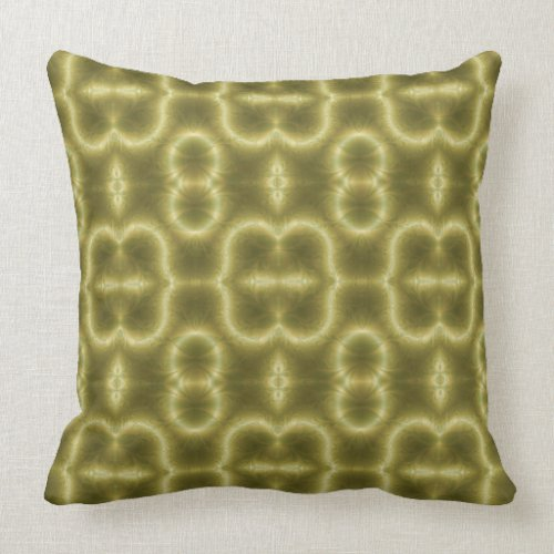 70s Green and Gold Paisley Throw Pillow