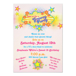 70s Theme Groovy Disco Sweet 16 Birthday Party Custom Invites