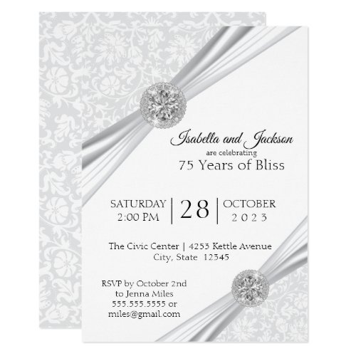 75th Diamond Anniversary Design Invitation