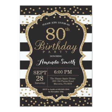 80th Birthday Invitation. Black and Gold Glitter Invitation