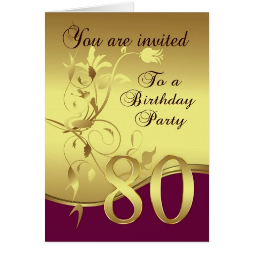 80th Birthday Party Invitation Zazzle