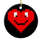 8bit Heart Face ornament