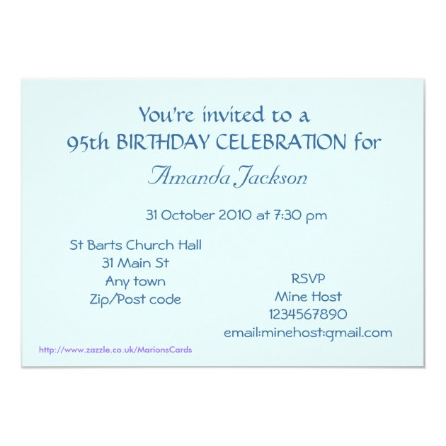 95th Birthday Invitation Wording