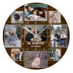 9 Family Photo Collage Custom Name Farmhouse Wood Large Clock