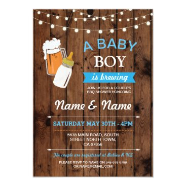 A Baby Boy is Brewing Shower Beers BBQ Wood Invite