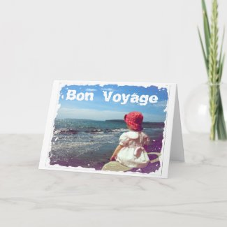A Girl By the Sea Bon Voyage Card card