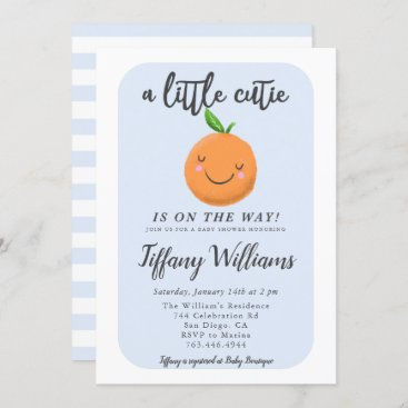 A Little Cutie Is On The Way Blue Baby Shower Invitation