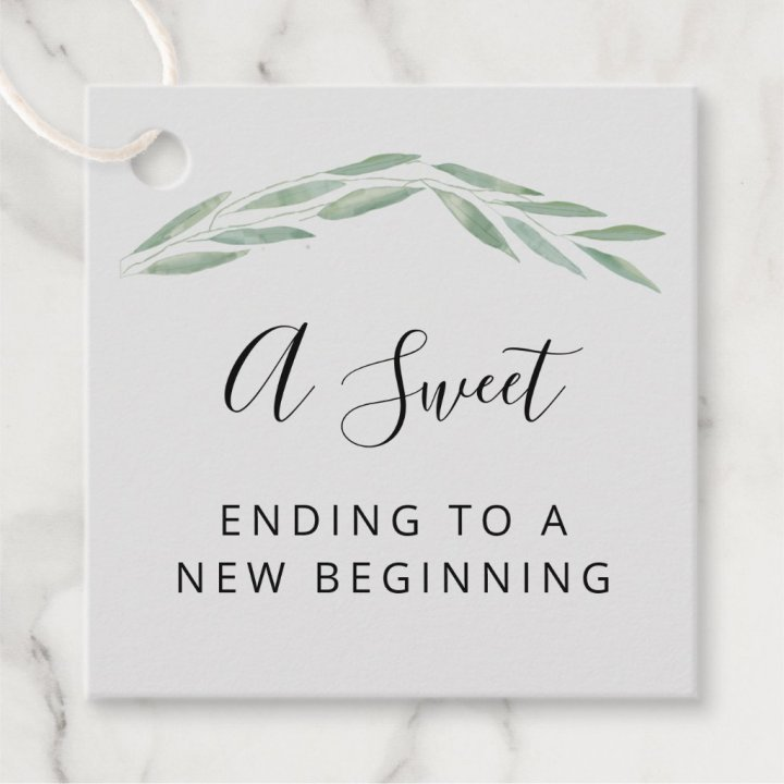 A Sweet Ending to a New Beginning Wedding Favor Tags