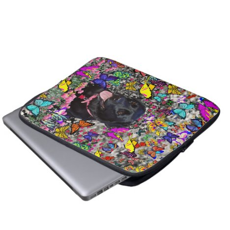 Abby in Butterflies - Black Lab Dog Laptop Sleeve