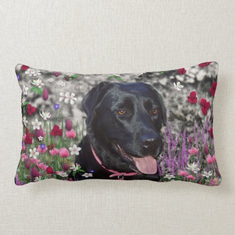 Abby in Flowers – Black Lab Dog Lumbar Pillow