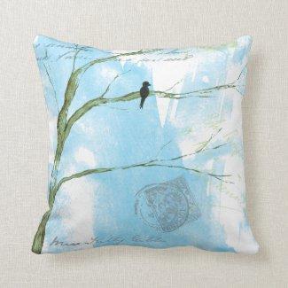 Abstract Art Black Bird Tree Postmarks Text Pillow