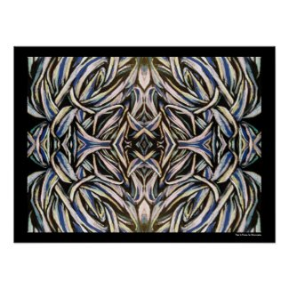 Abstract Art Black Silver Symmetrical Design Posters