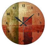 Abstract Art Grunge Geometric Red Orange Green Large Clock