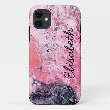 Abstract Art Paint Pour Pink Black iPhone 11 Case