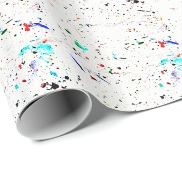 Abstract Art Paint Splashes and Spots Wrapping Paper