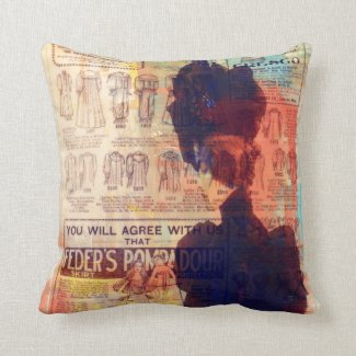 Abstract Art Vintage Woman Clothing Fashion Ads Throw Pillow