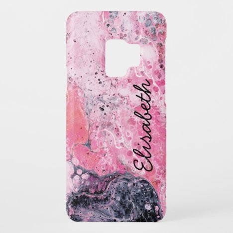 Abstract Art With Acrylic Paint Pour | Pink Black Case-Mate Samsung Galaxy S9 Case