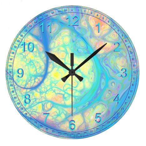 Abstract Blue Angel – Cosmic Azure & Lemon Large Clock