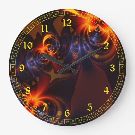 Abstract Eyes & Swirls – Amber & Indigo Delight Large Clock