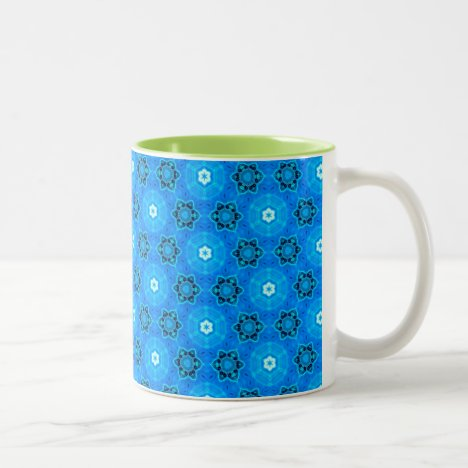 Abstract Modern Sky Blue Flowers, Circles, Stars Two-Tone Coffee Mug