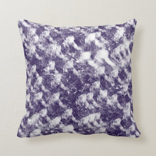 Abstract purple and white rough texture pillow