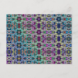Abstract Rainbow Mandala Fractal postcard
