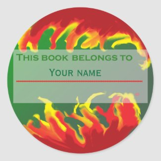 Abstract Red Yellow Bookplate sticker