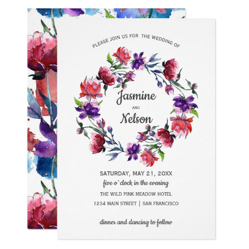 Abstract watercolor  Flowers wreath Wedding Invitation