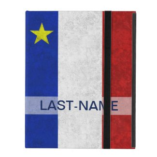 Acadian Flag Surname Distressed Grunge Personalize iPad Cover