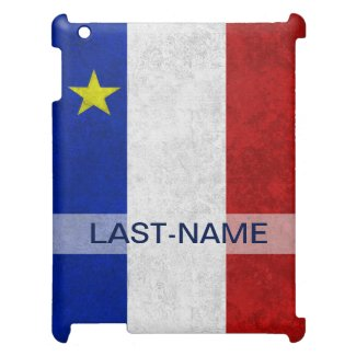 Acadian Flag Surname Distressed Grunge Personalize Cover For The iPad 2 3 4