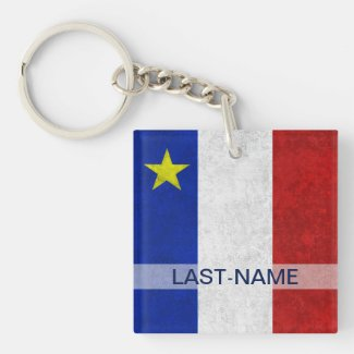 Acadian Flag Surname Distressed Grunge Personalize Square Acrylic Keychain