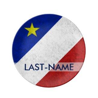 Acadian Flag Surname Distressed Grunge Personalize Porcelain Plate