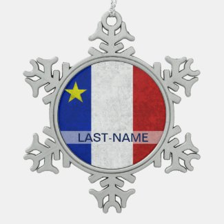 Acadian Flag Surname Distressed Grunge Personalize Ornaments