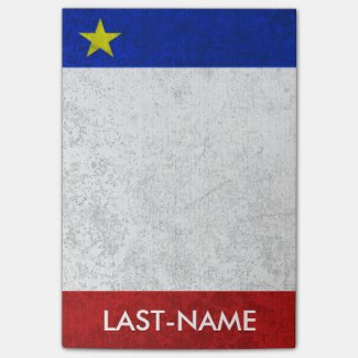 Acadian Flag Surname Distressed Grunge Personalize Sticky Notes