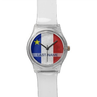 Acadian Flag Surname Distressed Grunge Personalize Wristwatches