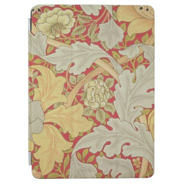 Acanthus leaves and wild rose on a crimson backgro iPad air cover
