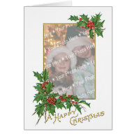 Add-A-Photo Christmas Vintage Gold & Holly Berries Cards