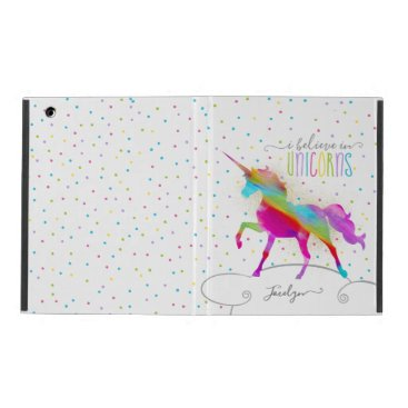 Add Name Personalized Gold Glitter Rainbow Unicorn iPad Case