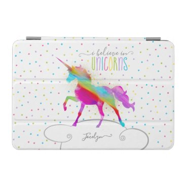 Add Name Personalized Gold Glitter Rainbow Unicorn iPad Mini Cover
