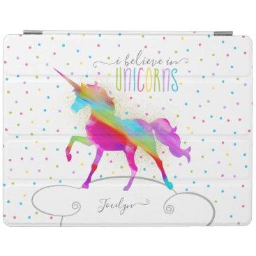 Add Name Personalized Gold Glitter Rainbow Unicorn iPad Smart Cover