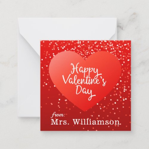 Add Your Name | Happy Valentine's Day Polka Dots Note Card