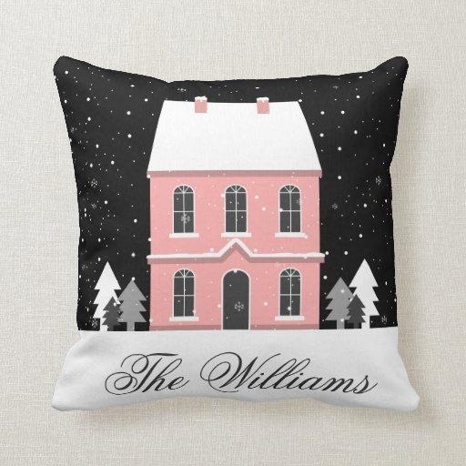 Add Your Name | Winter Scene Snowflakes Throw Pillow