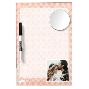 Add Your Own Custom Photo Love Hearts in Rose Gold Dry Erase Board With Mirror
